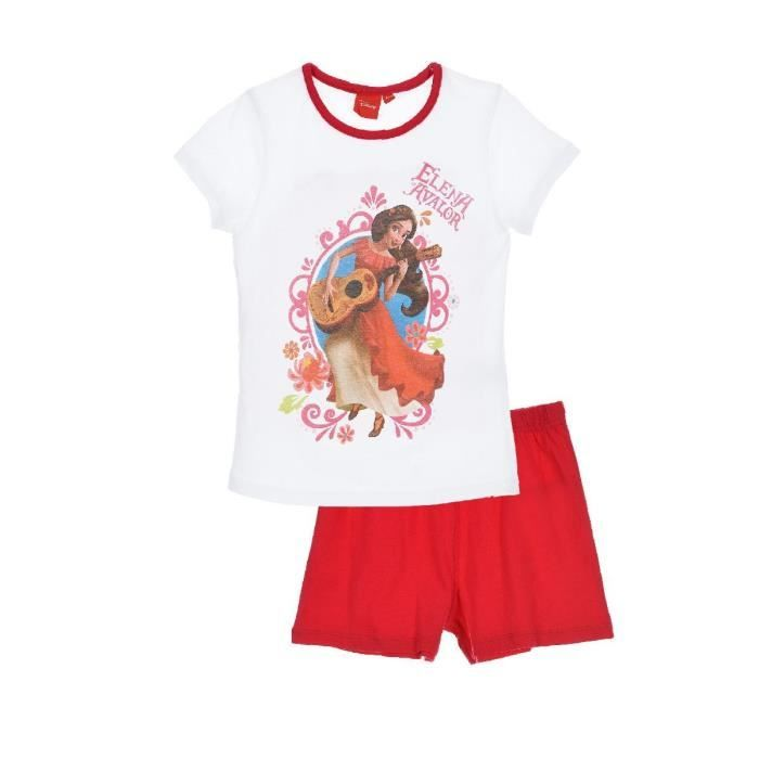 T-shirt Blanc col rond et Short Rouge Fille Disney Elena D'Avalor
