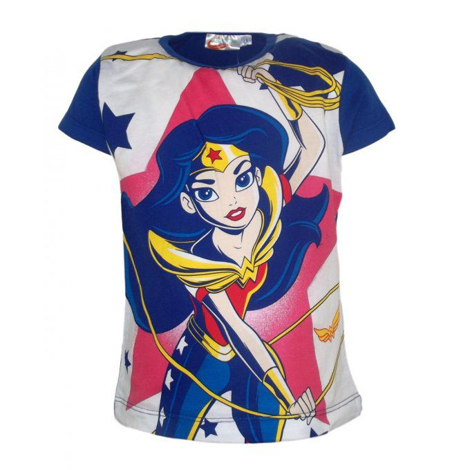 T-shirt enfant fille DC Comics manches courtes bleu Wonder Woman