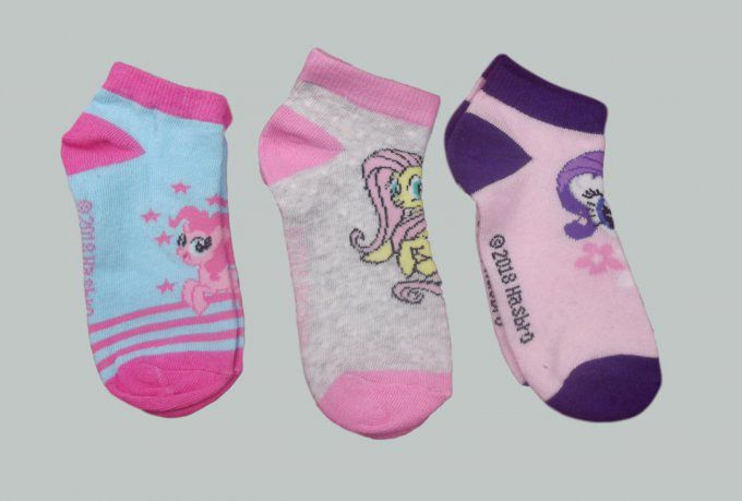 My little Pony - Lot de 3 paires de bas - Violet/Rose/Gris - Pointures 27 à 34