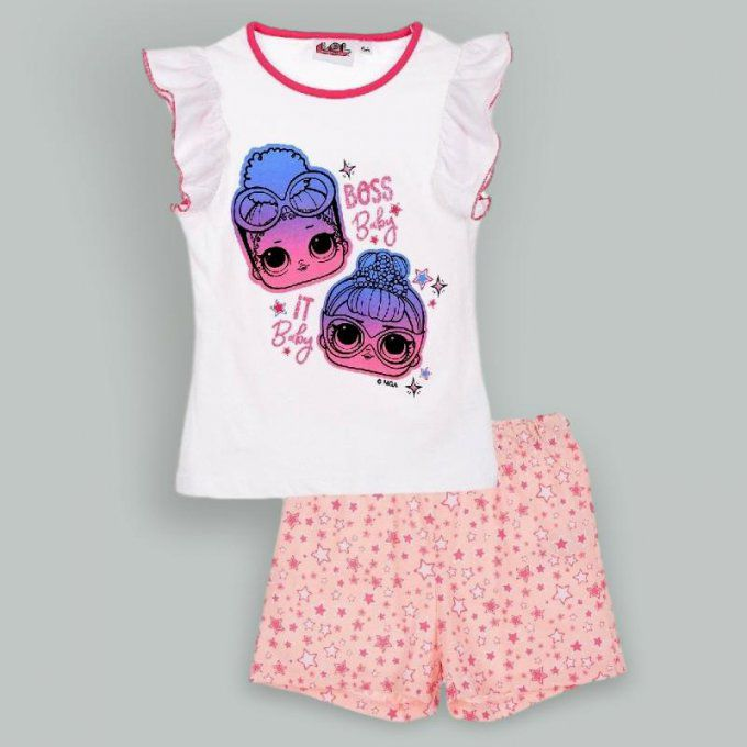 Ensemble T-shirt et Short Poupées Lol Surprise en coton - 5 à 10 ans - Blanc et Rose