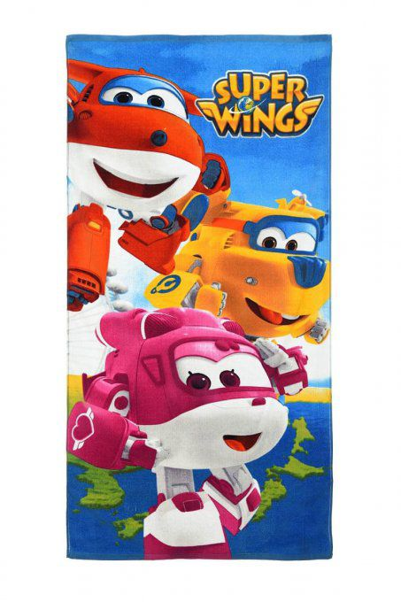 Serviette enfant Super Wings en coton - 70x140 cm - Bleu